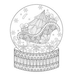 zentangle snow globe with sledge Christmas tree vector image
