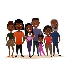 Big happy black family cartoon concept vector image