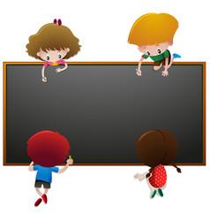 children writing on blackboard vector image