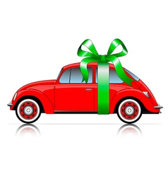 compact red car with ribbon vector image vector image
