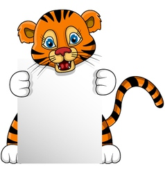 Cute young tiger cartoon with blank sign vector