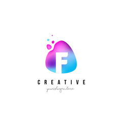 f letter dots logo design with oval shape vector image vector image