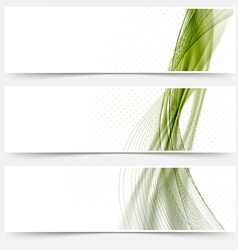 Green satin lines web footers collection vector image