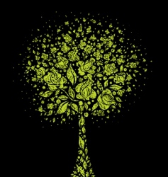 grunge tree symbol from flowers vector image