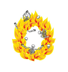 Letter o hellish flames and sinners font fiery vector