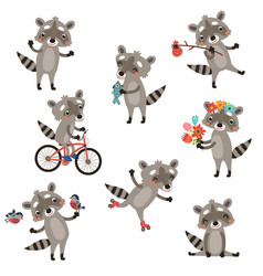 set of funny raccoons vector image vector image