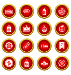 black friday icon red circle set vector image vector image