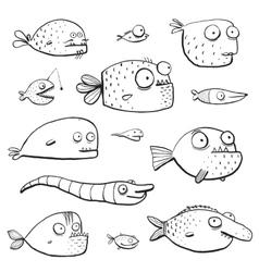 Black Outline Humor Cartoon Swimming Fish vector image