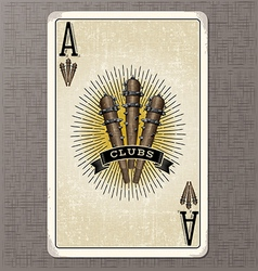 Vintage playing card ace of clubs vector