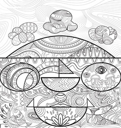 Line art for coloring of abstract shape and line vector image vector image
