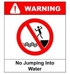 No jumping into water vector