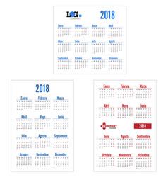 spanish set calendar on 2018 year vector image