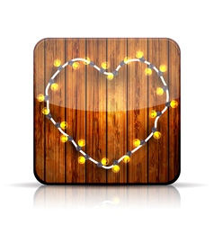 app icon A heart garland on wooden background vector image vector image