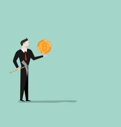 cartoon businessman with bitcoin mining vector image