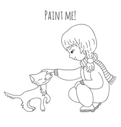 coloring girl and cat vector image vector image