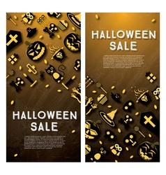 Halloween sale banner with pumpkin vector image