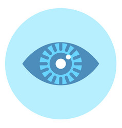 human eye icon on blue round background vector image