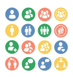 People and social colored icon set vector image vector image