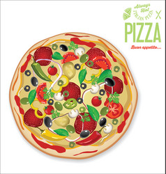 pizza background retro design vector image vector image