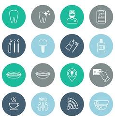 Set of linear dental icons Flat design vector image