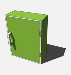 3d image - simple green white isolated cabinet vector