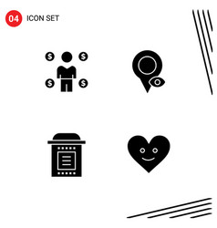 4 universal solid glyphs set for web and mobile vector