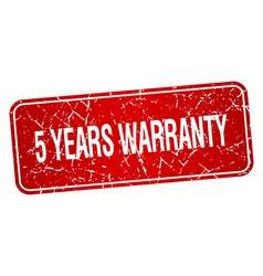 5 years warranty red square grunge textured vector