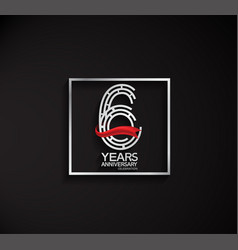 6 years anniversary logotype with square silver vector