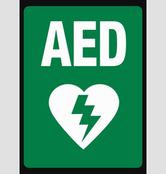 aed sign green and white eps 10 vector image