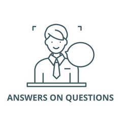Answers on questions line icon answers on vector