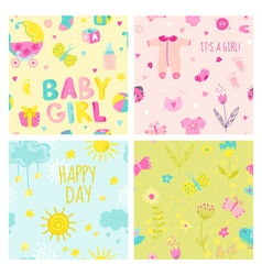 Baby Girl Seamless Background Set vector
