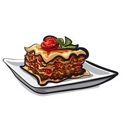 baked lasagna vector image