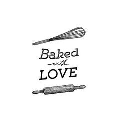 Baked with love hand draw kitchen tools vector
