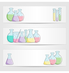 banners with laboratory test tubes with colored li vector image