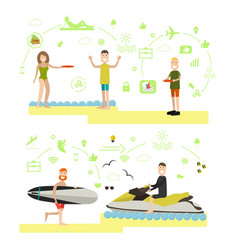 Beach holidays in flat style vector