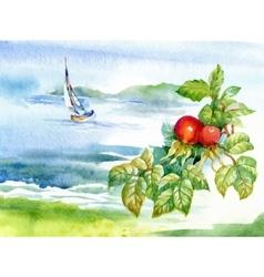 Beautiful watercolor summer river landscape vector