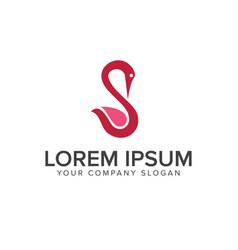Beauty swan logo design concept template vector