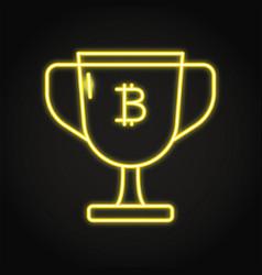 bitcoin block reward icon in neon style vector image