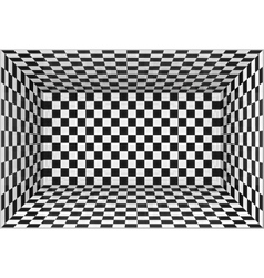Black and white chessboard walls room background vector image