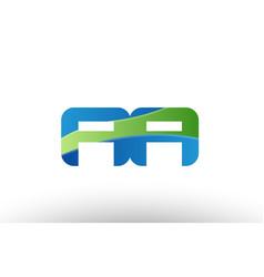 Blue green aa a a alphabet letter logo vector