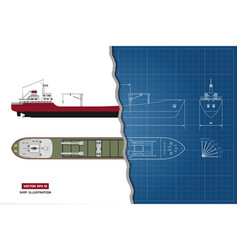 Blueprint cargo ship top side and front vector