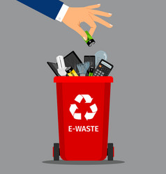 Businessman hand put battery in trash vector