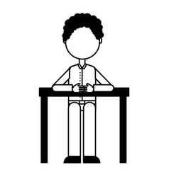 Businessman in table avatar character icon vector