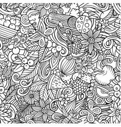 cartoon doodles summer seamless pattern vector image