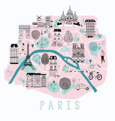 cartoon map paris vector image
