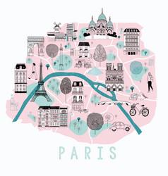 Cartoon map paris vector