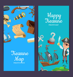 cartoon sea pirates web banner templates vector image
