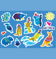 christmas australian animal sticker set vector image