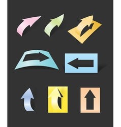 Color arrows stickers collection vector