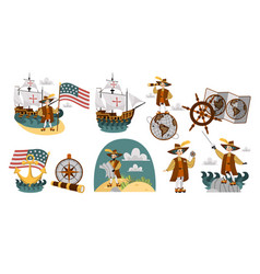 Columbus day set with ship map helm compass vector